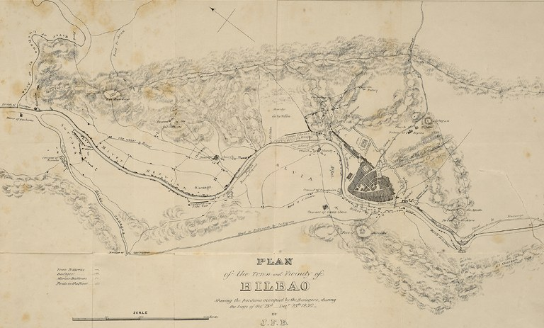 "BACON, John Francis. ""Plan of the town and vicinity of Bilbao : shewing the positions occupied by the besiegers, during the siege of Octr. 23d - Decr. 25th 1836.""  1838."