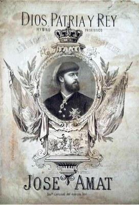 """José AMAT. """"Dios, Patria y Rey. Himno patriótico a S.M. Don Carlos VII de Borbón y Este.""""  1872."""
