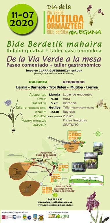 """11ª edición dl día de la vía verde Mutiloa-Ormaiztegi. Actividad, """"De la vía verde a la mesa"""""""