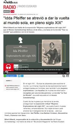 ZM. Exploradoras del siglo XIX. Entrevista en Radio Euskadi para el programa Boulevard Magazine