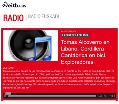"""ZM. Exploradoras del siglo XIX. Entrevista a Mikel Alberdi en Radio Euskadi para el programa """"La casa de la palabra"""". 08-04-2021"""