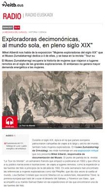 """ZM. Exploradoras del siglo XIX. Entrevista a Mikel Alberdi en Radio Euskadi para el programa """"La mecánica del caracol"""". 09-04-2021"""