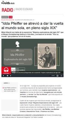 ZM. Exploradoras del siglo XIX. Entrevista a Mikel Alberdi en Radio Euskadi para el programa Boulevard Magazin. 6-04-2021
