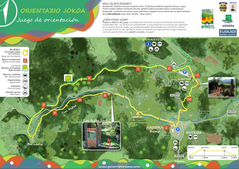 Juego de Orientación en torno a la vía verde Mutiloa-Ormaiztegi dirigido a familias