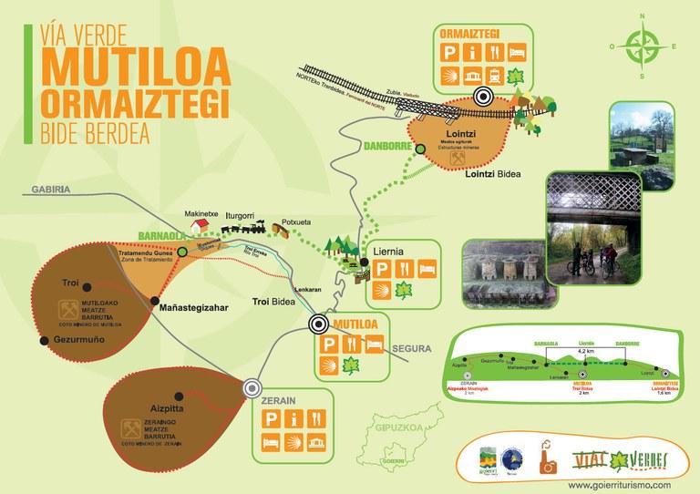 La Vía Verde Mutiloa-Ormaiztegi es una infraestructura ferroviaria en desuso que ha sido reconvertida en itinerarios cicloturista y senderista, remodelada. Con una longitud de 4,5km recorre desde el  caserío Barnaola, lugar en el que se almacenaba el mineral de hierro extraído en el coto minero de Zerain y en el coto minero de Mutiloa, hasta la estación de tren de Ormaiztegi. El ambos cotos se extraía mineral de hierro que abastecía a las ferrerías de la zona y esta ruta nos muestra el recorrido realizado por dicho mineral.