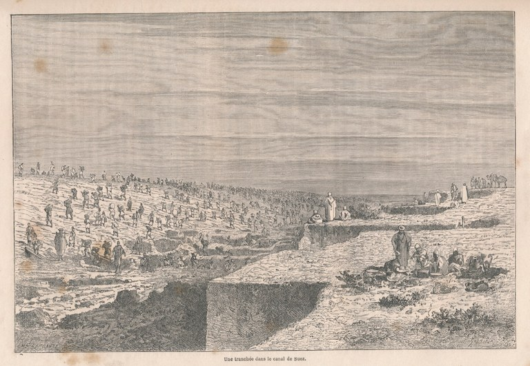 ZM. Une Excursion au canal de Suez. Le Tour du Monde. Par M. Paul Merruau. 1862. Une tranchée dans le canal de Suez