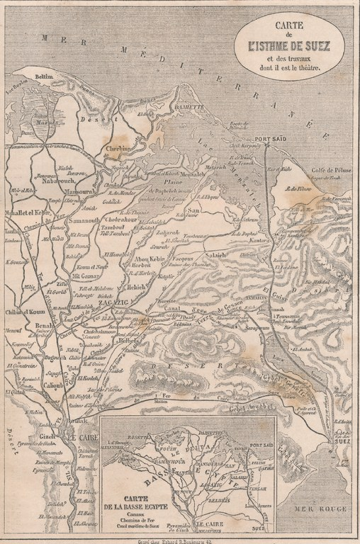 ZM. Une Excursion au canal de Suez. Le Tour du Monde. Par M. Paul Merruau. 1862. Carte de LÍstheme de Suez et des travaux dont il est le théàtre