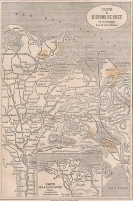 ZM. Carte de LÍstheme de Suez et des travaux dont il est le théàtre
