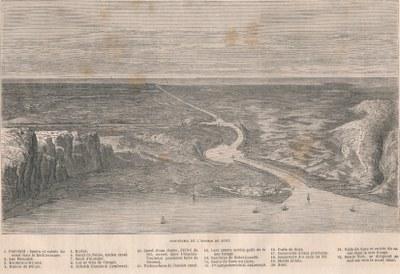 ZM. Une Excursion au canal de Suez. Le Tour du Monde. Par M. Paul Merruau. Panorama de Listhme de Suez.1862