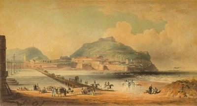 San Sebastián desde el convento de San Francisco: pontón sobre el Urumea y principio del nuevo puente de madera, mayo de 1836