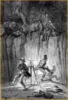 Fitzmaurice eta Keys britainiarrak eskoziar dantzan Australia iparraldeko biztanleen erasoa ekiditearren.