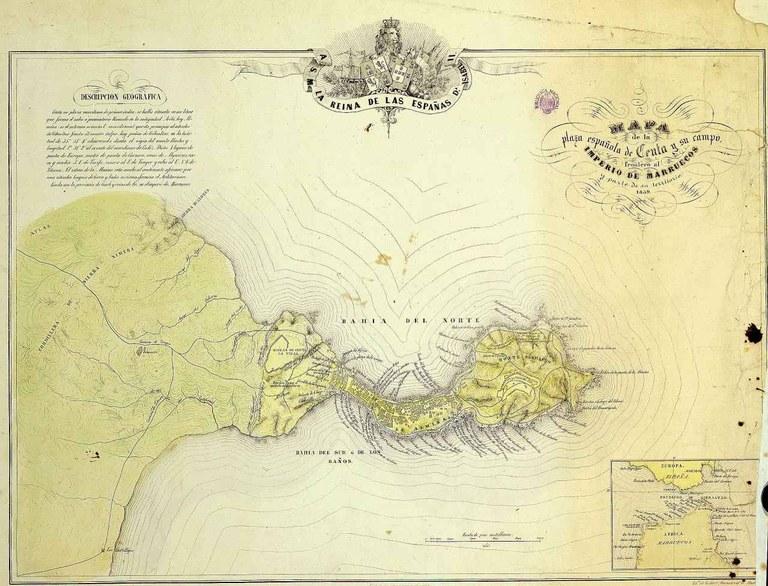 """""""Mapa de la plaza española de Ceuta y su campo frontero al Imperio de Marruecos"""" 1859"""