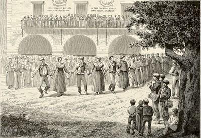 Elorrioko plazan dantzatutako zortzikoa