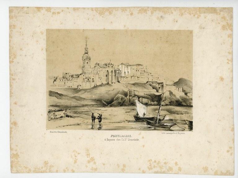 """Blanche HENNEBUTTE. """"Vue de la place de la nouvelle église et de la Ville Eugénie"""". Baionako Euskal Museoa"""