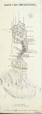 Litografía de G. Pfeiffer. Ceuta y sus inmediaciones. (BN)