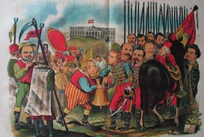 La rendición de Toreno. (Parodia del cuadro de Velazquez titulado  La rendició de Breda)
