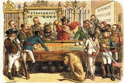 """Gran billar del siglo XIX noble juego de la guerra. """"Amaos los unos a los otros"""""""