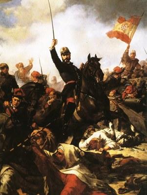 Francesc SANS La batalla de los Castillejos. (1866). Museo del Ejército.