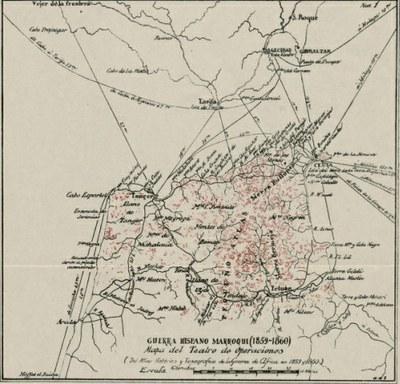 Guerra Hispano-Marroquí (1859-1860). Mapa del teatro de operaciones. (IEI)