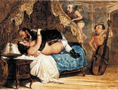 """Entre tanto el camastron / cogido estaba al violon """"Los Borbones en pelota""""."""